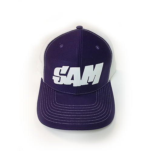 Purple Trucker Mesh Sam in White - Block
