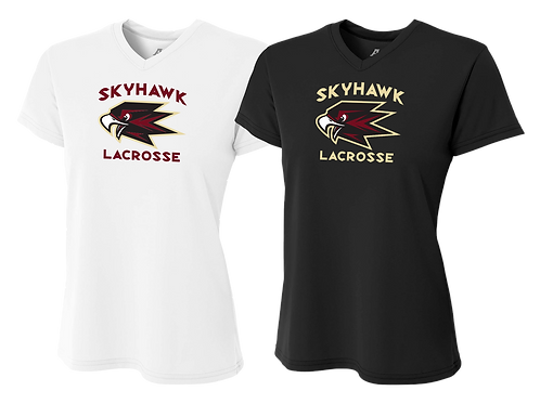 Ladies Dry Fit V-Neck - Skyhawk Lacrosse