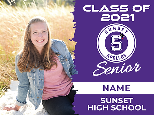 Sunset 2021 Senior Yard Sign With Photo