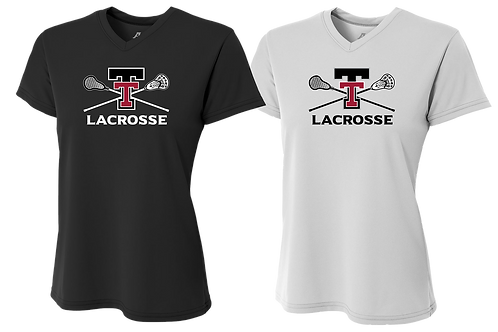 Ladies S/S V-Neck Dry Fit Shirt - Tualatin Lacrosse