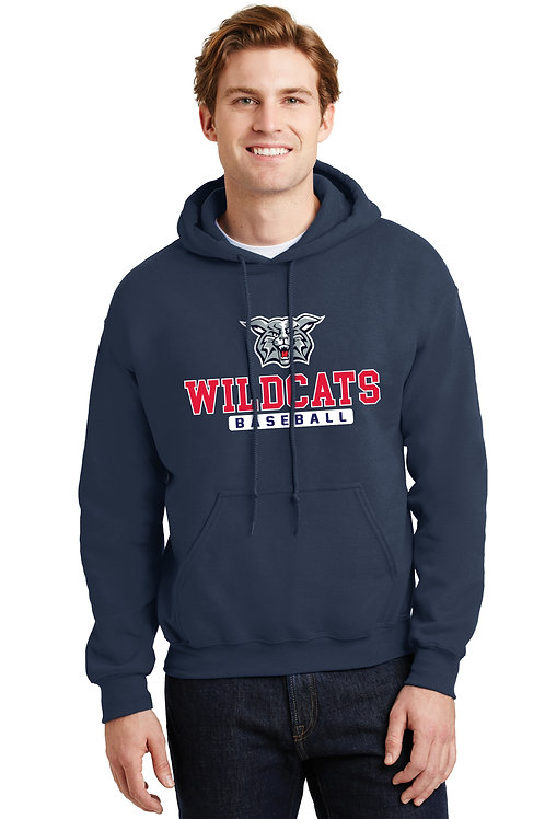 Cotton Hoodie - Navy with Wildcats Baseball Logo