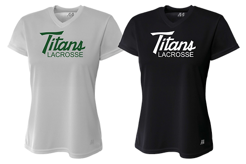 Ladies S/S V-Neck Dry Fit Shirt - Titans Lacrosse