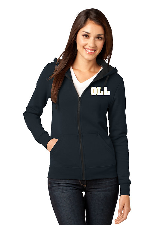 Ladies Full-Zip Hoodie-Navy