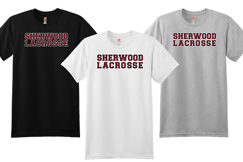 Men's/Youth 100% Cotton Tee - Sherwood Lacrosse Font