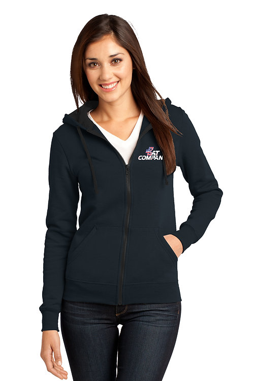 Ladies Full-Zip Hoodie-Navy BC