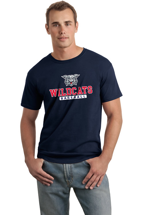 Dry-Fit Tee-Navy with Wildcats Baseball Logo