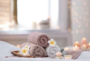 Beautiful spa composition on massage tab