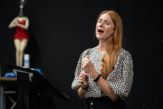 Rosalie Craig in rehearsal