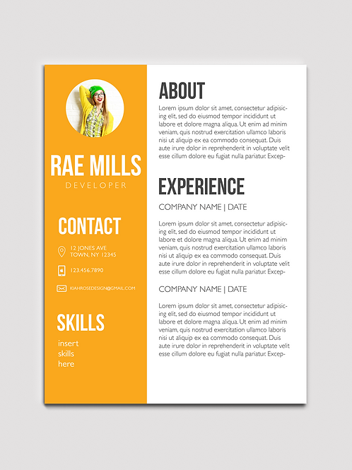 Clean Resume Design With Pop of Color