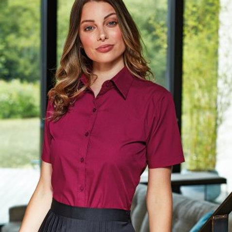 PR302 Premier Ladies Short Sleeve Poplin Blouse