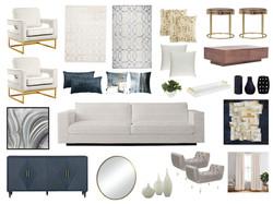 Glam living room design board