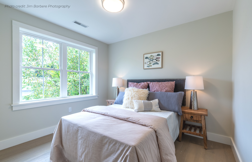 Blush guest room staged Greater Boston Envision Redesign