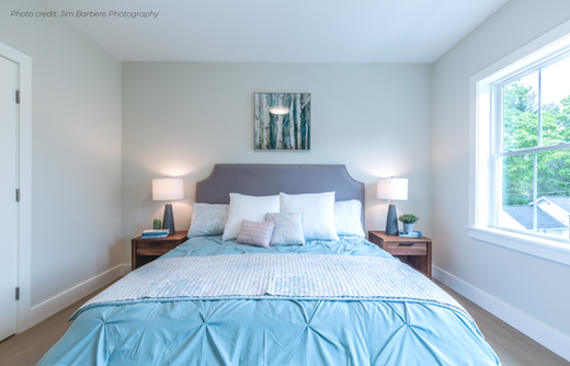 Master bedroom luxurious Greater Boston home staging