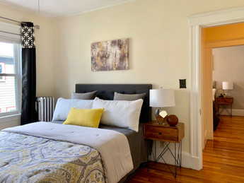 Gray yellow bedroom Envision Redesign: Arlington