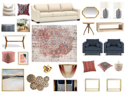 Boho living room design board