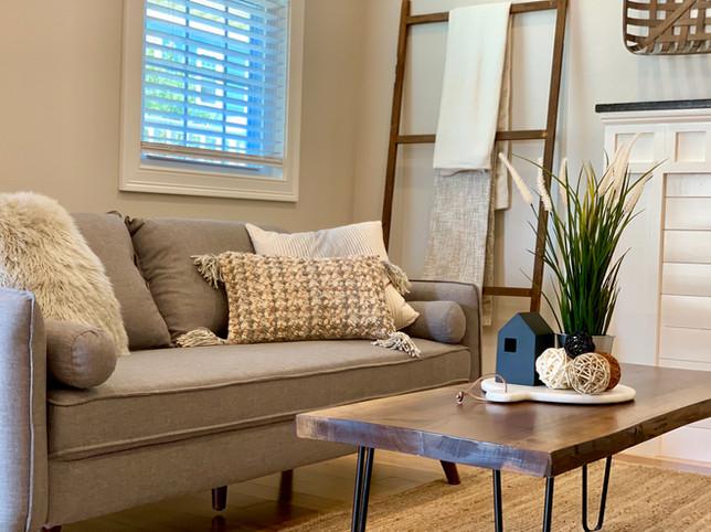 Blanket ladder living room staging Salem MA