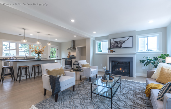 Modern living room staging Boston North