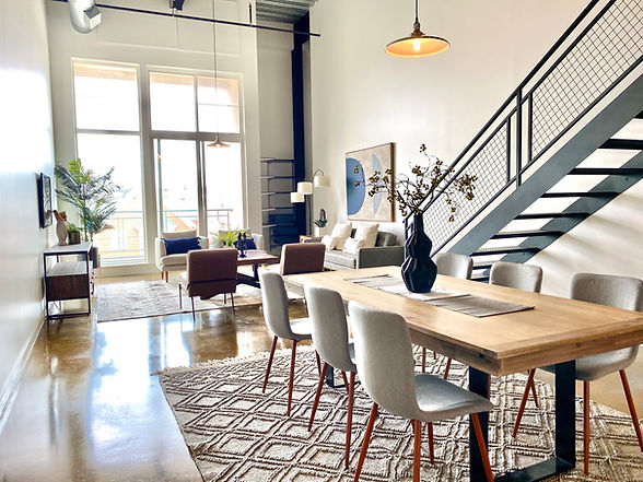 loft living room industrial style stagin