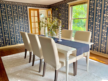 White Dining room furniture staging Swampscott MA Envision Redesign