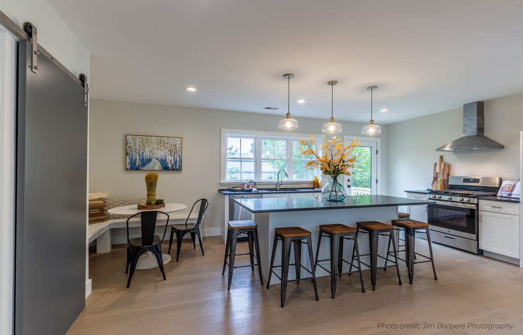 Dining nook staged in open concept Boston