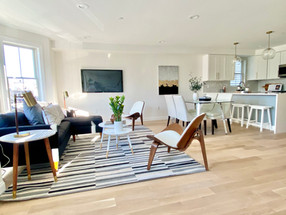 Open concept living dining kitchen East Boston