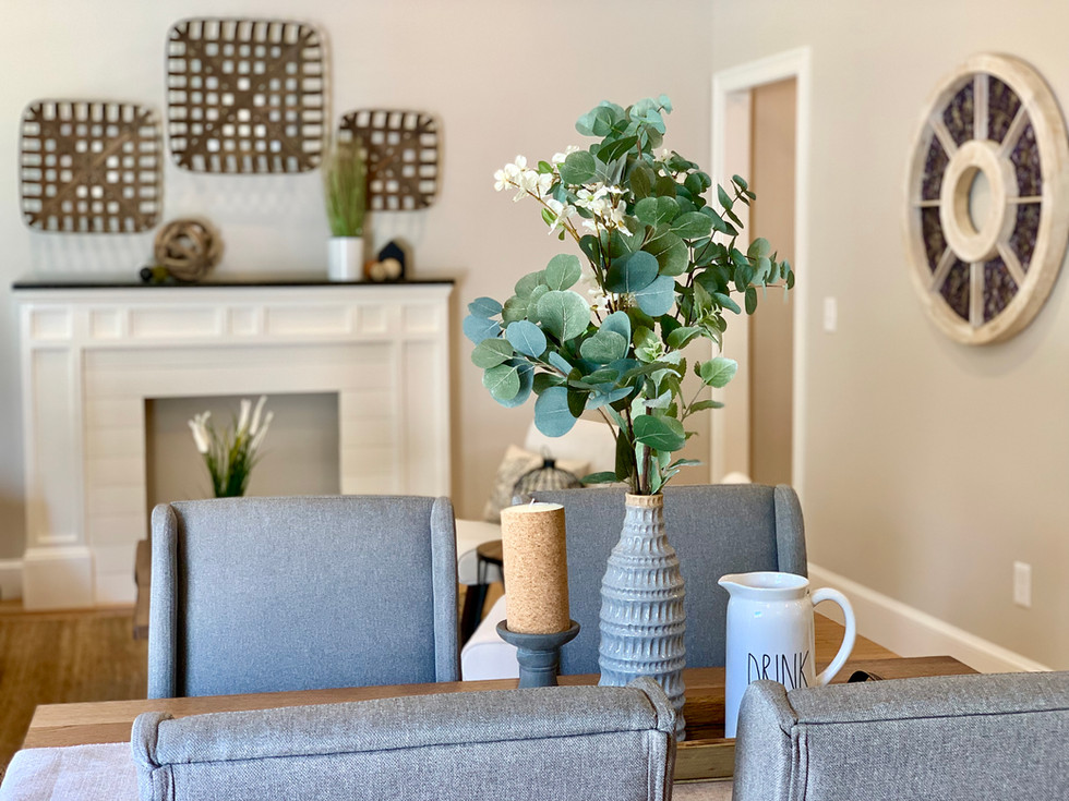 Dramatic wall art home staging Envision Redesign Salem MA
