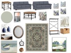 Coastal living room design board
