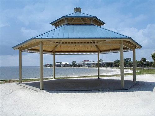 36' Double Tier Hexagonal Steel Frame Shelter