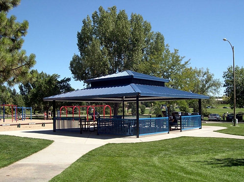 16'x16' Double Tier Square Steel Frame Shelter
