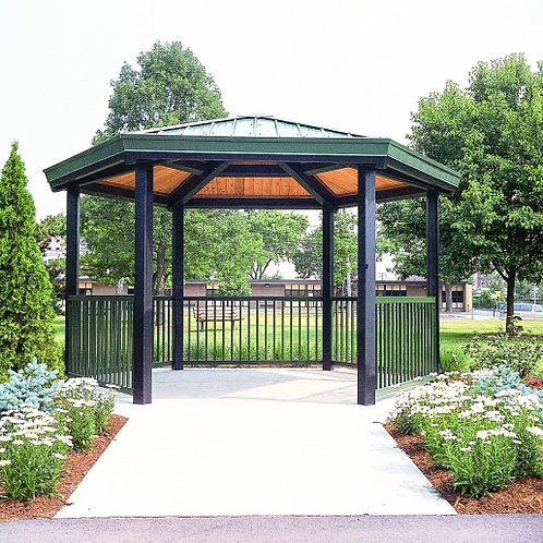 18' Single Tier Hexagonal Steel Frame Shelter