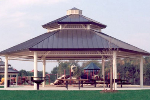 48' Single Tier Octagonal Steel Frame Shelter