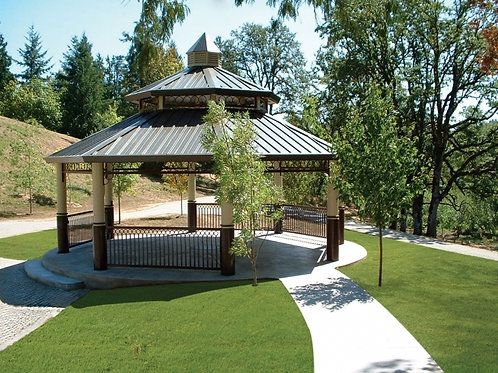 24' Double Tier Octagonal Steel Shelter Pavilion
