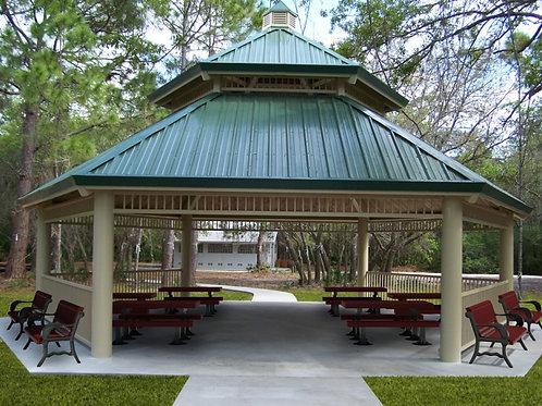 40' Double Tier Hexagonal Steel Frame Shelter