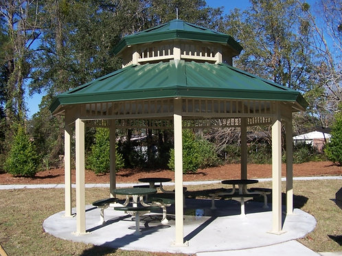 24'Single Tier Octagonal Steel Outdoor Shelter