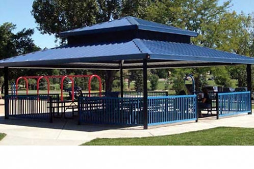 30' x 30' Double Tier Square Steel Frame Shelter