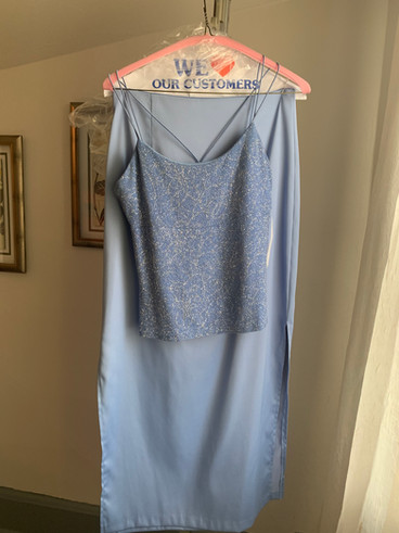 Blue Tank with Slitted Pencil Skirt