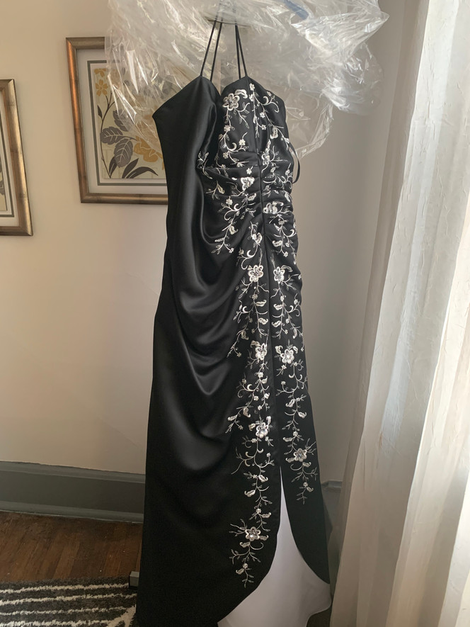 Black and White Embroidered