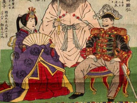 Японские гравюры с императором и императрицей.