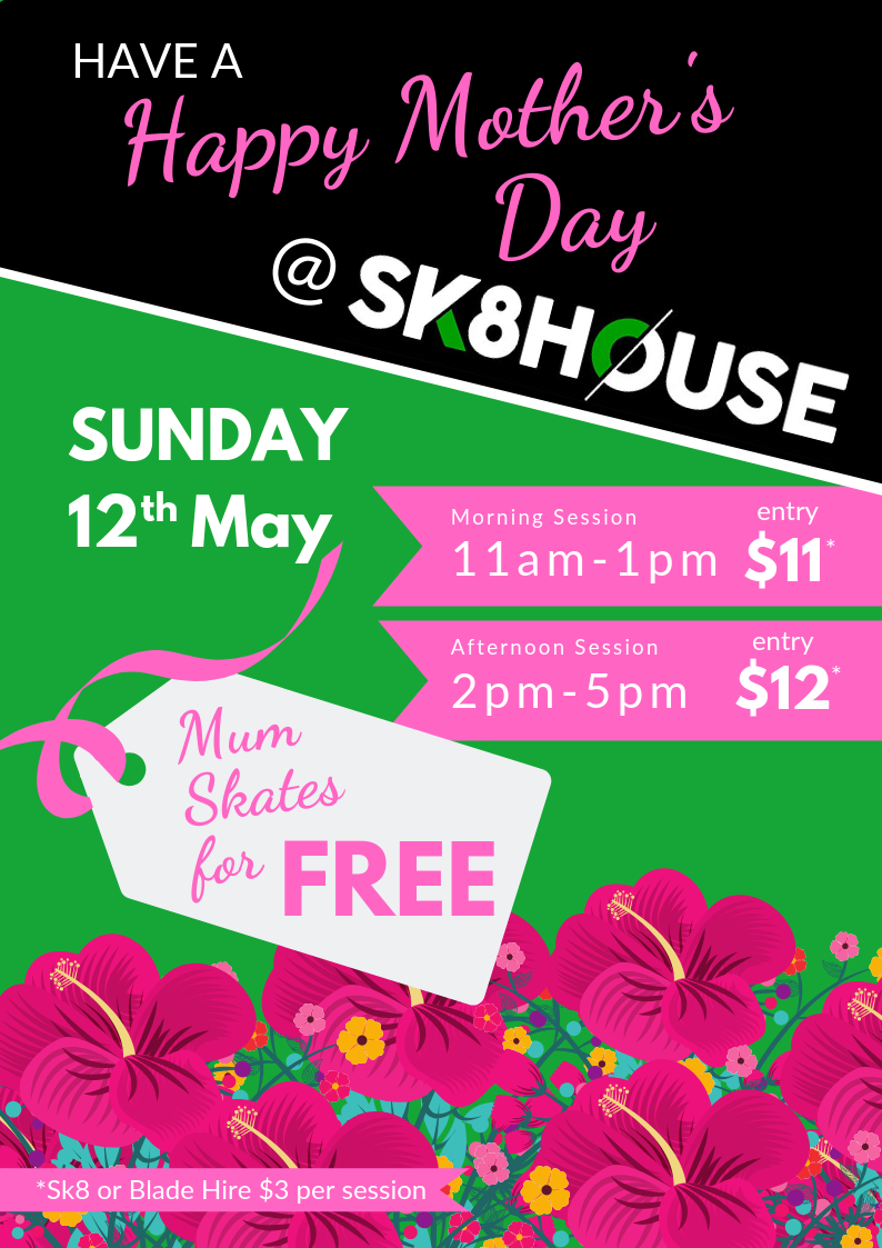 Sunday 12th May 11am-1pm & 2pm-5pm at Sk8house