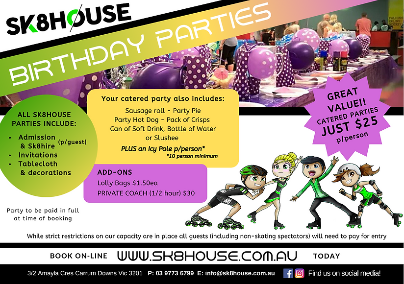 Phase 1 re-open - BIRTHDAY PARTIES - Lan