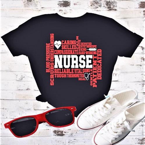 """Nurse Subway Art"" Short-Sleeved Tee"