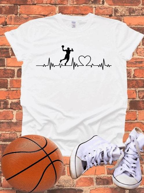 """Basketball heartbeat"" Short-Sleeved Tee"
