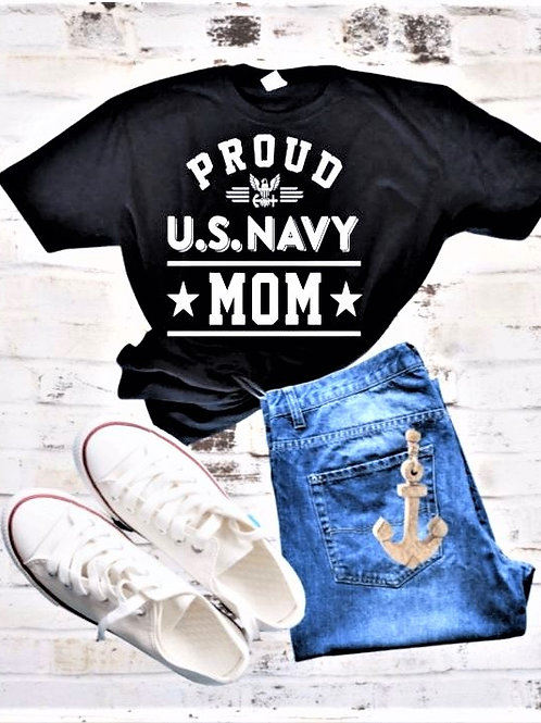 """Proud U. S. Navy Mom"" Short-Sleeved Tee"