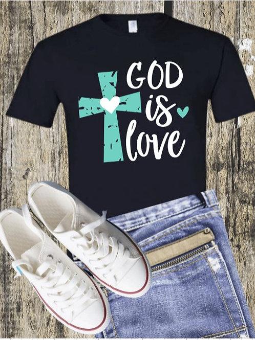 """""""God is Love with cross"""" Short Sleeved Tee"""