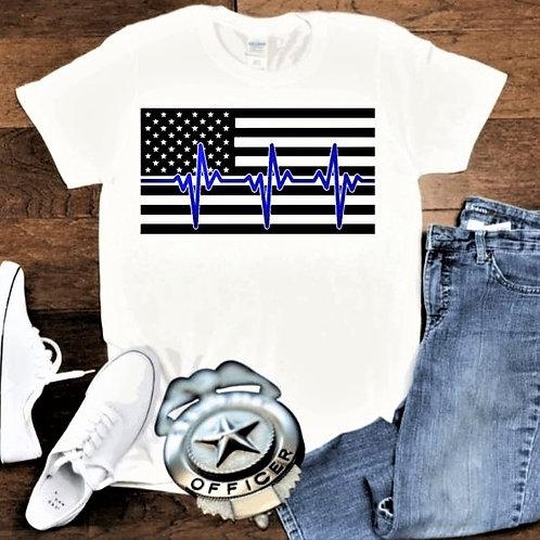 """Thin blue line flag"" Short-Sleeved Tee"