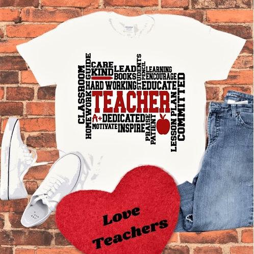 """""""TEACHER Subway Art"""" Short-Sleeved Tee"""