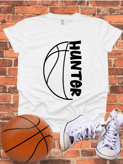 """""""Sideways Basketball with player name"""" Short-Sleeved Tee"""