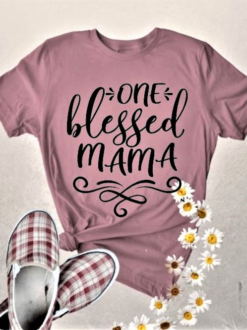 """""""One blessed Mama"""" Short-Sleeved Tee"""