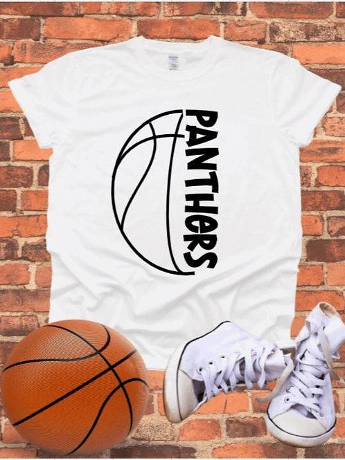 """Sideways Basketball with mascot name"" Short-Sleeved Tee"