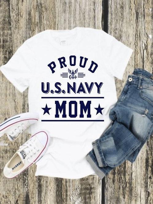 """Proud U.S. Navy Mom"" Short-Sleeved Tee"